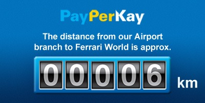 PayPerKay Ferrai World UAE tourist destination Hire Rent Lease a car